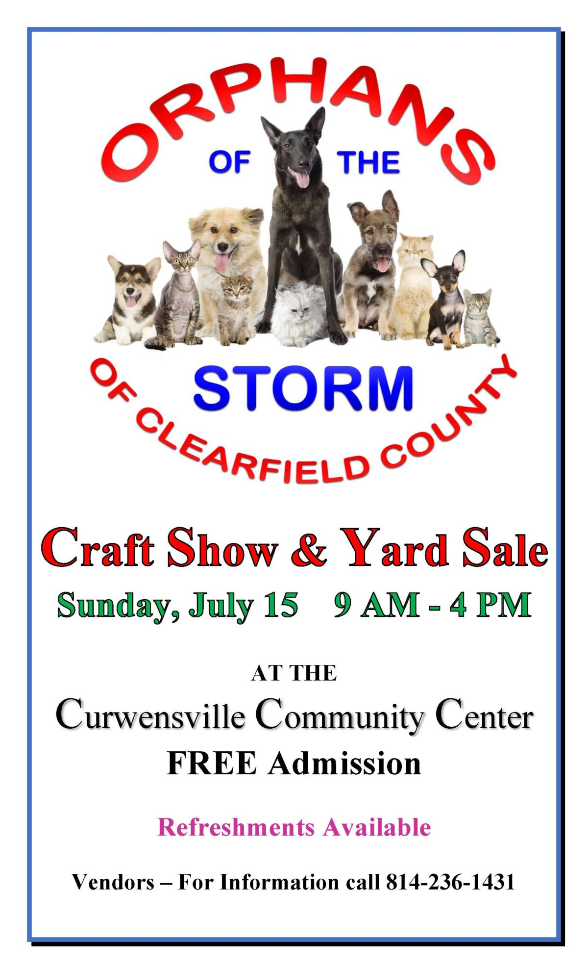 Clearfield County Orphans of the Storm Craft & Yard Sale
